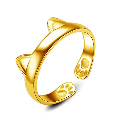 Silver Plated CAT Ears Ring Thumb Wrap Ring Adjustable Pet Gift Gold,Outsta 2019 Fashion Jewelry Hot Sale!Under 5 Dollars Gifts for Her]()