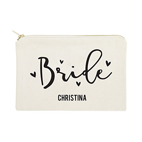 The Cotton & Canvas Co. Bride Personalized Wedding Cosmetic Bag, Bridal Party Gift and Travel Make Up Pouch ()