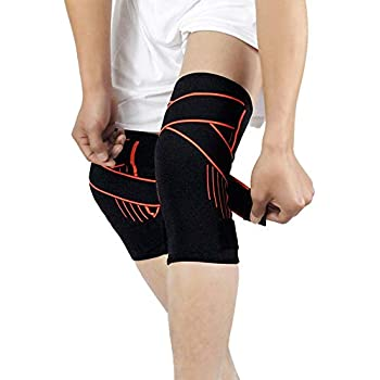 Amazon com: Knee Brace Compression Sleeve with Strap for