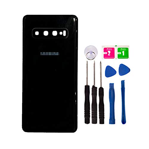 Replacement Rear Housing Battery Back Door Cover for Samsung Galaxy S10 Plus SM-G9750 6.44 inch with Adhesive Preinstalled Repair Part Outer Glass Case (with Camera Lens Cover) (Blue)