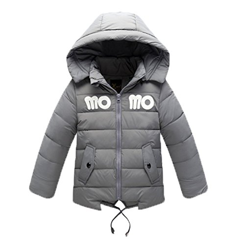 Ohmais Unisex Jungen Mädchen Winter Down Jacket verdickte Winterjacke Jungen Mantel verdickte Trenchcoat Jungen Outerwear mit Kapuzen Grau uUTByKMPYb