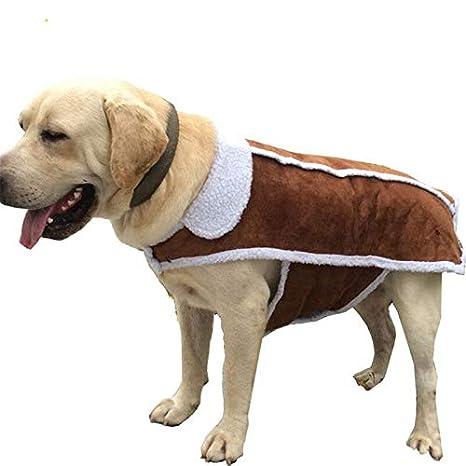 ZHAOZX Chaleco de Perro Grande de Piel Abrigo para Mascotas ...