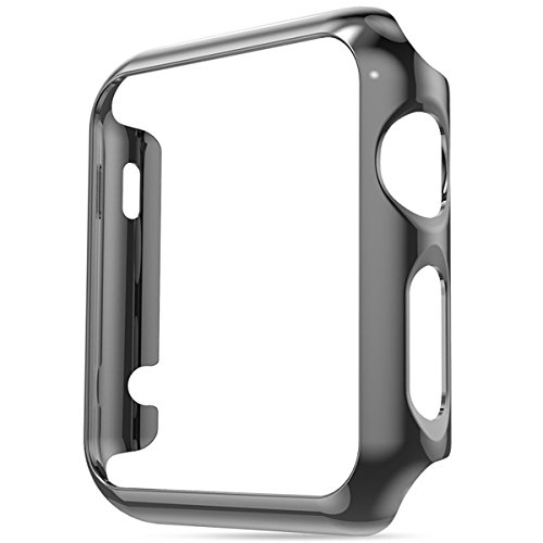 Hovisi Super Thin PC Plating Protective Bumper for Apple Watch Case 42mm (Black)
