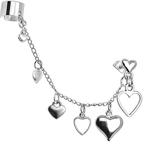 Handcrafted Heart to Heart Ear Cuff Chain Earring