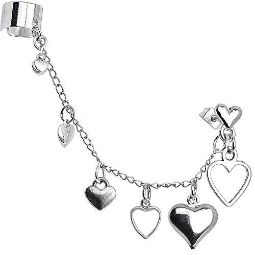 - Handcrafted Heart to Heart Ear Cuff Chain Earring