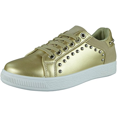 Ladies Running Trainers Womens Studded Flat Sneakers Comfy Lace Up Shoes Size 3-8 Gold 8tWrfttSrx