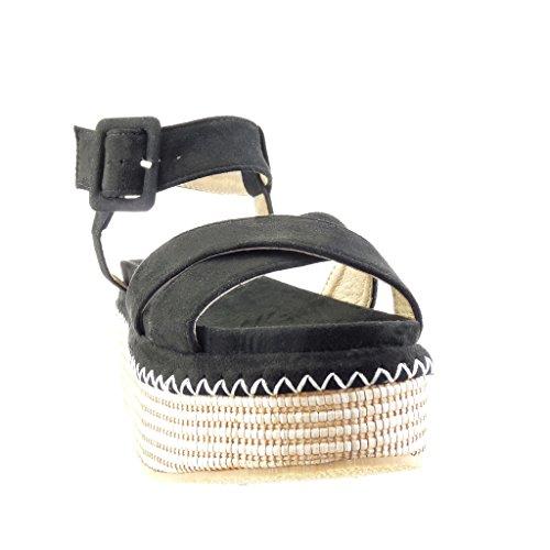 Angkorly - Chaussure Mode Sandale Mule plateforme femme tréssé lanière boucle Talon compensé plateforme 7 CM - Noir
