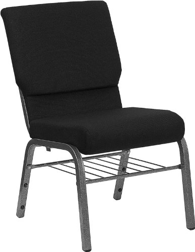 Flash Furniture HERCULES Series 18.5''W Black Fabric Church Chair with Book Rack-Silver Vein Frame by Flash Furniture