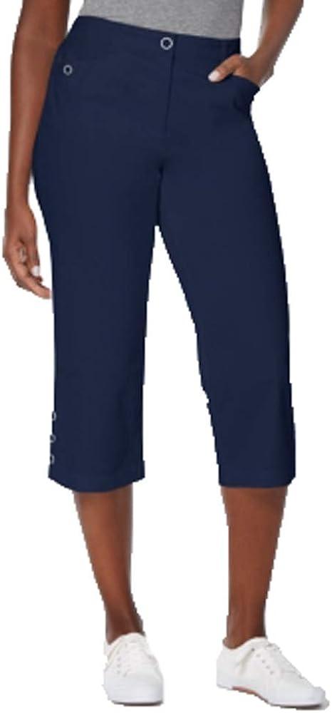 Karen Scott Button-Cuff Capri Pants