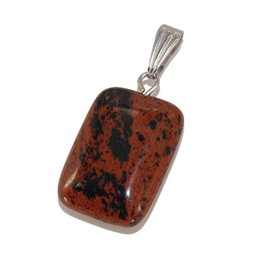 Mahogany Obsidian Necklace - Steampunkers USA Unchained Core Elements - 20mm Rectangle Tag Rounded Mahogany Obsidian - Pendant Only - Natural Gemstone Tribal Ethnic Carved Necklace - Stainless Steel Bail