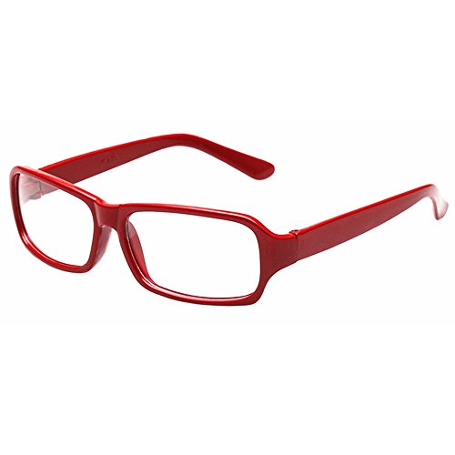 FancyG Vintage Inspired Classic Fashion Rectangle Glasses Frame Eyewear Clear Lens - - Glasses Frames Red