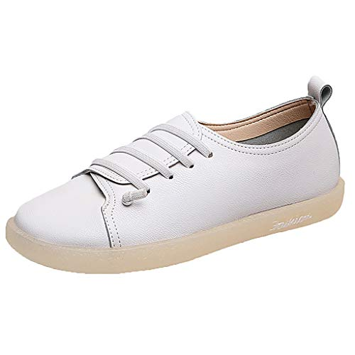 ONLY TOP Women's Leather Loafers Slip On Flats Casual Round Toe Moccasins Comfortable Driving Fashion Soft Shoes White