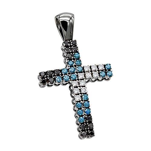 Luxurman Unique White Blue Black Natural 1.5 Ctw Diamonds Cross Pendant 10K Black Gold