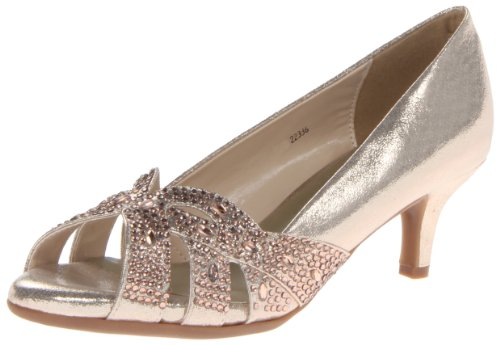 Dyeables Women's Tracy Dress Pump,Champagne Shimmer,11 B US (Gold Gem 100 Soles)