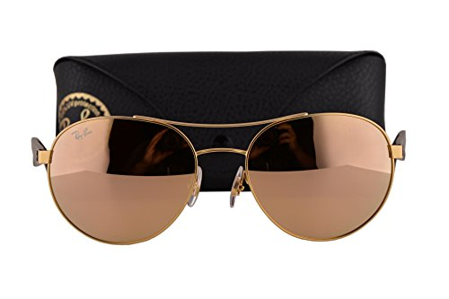 Ray Ban RB3536 Sunglasses Matte Gold w/Light Brown Mirror Pink Lens 1122Y RB - Ban Ray Nerd Glasses