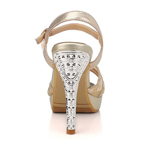 AmoonyFashion Womens Solid Blend Materials High-Heels Peep-Toe Buckle Sandals Gold ErxQRvFMI
