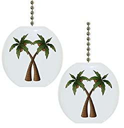 Set of 2 Coconut Palm Trees Ceramic Fan Pulls