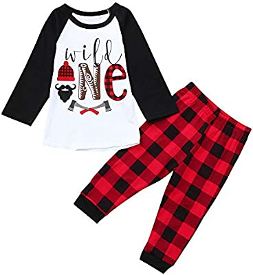Oyedens Niños Brief Print Top + Plaid Pantalones Set Manga Larga ...