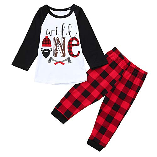 BOLUOYI Bodysuits Baby Boy Long Sleeve Toddler Letter Print Tops+Plaid Pants Christmas Outfits Clothes Black 100 ()
