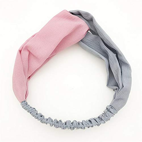 Autumn Winter Head Bands Vintage Contrast Double Color Cross Headbands Hair Band Mori Headband Hair(Pink Grey,-) -