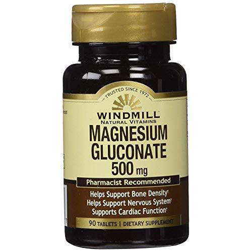 Windmill Magnesium Gluconate 500 mg, 90 Tablets Per Bottle (5 Bottles)