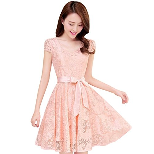 Fedi Apparel Women's Korean Lace Floral Dress Short Sleeve V Neck Party Dress