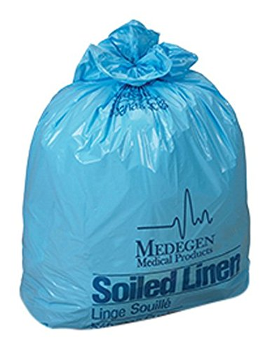 Medegen Medical Products RS304314Y Yellow/Black Polyethylene Laundry and Linen Bags, LLDPE Film, 30.5'' x 43'' Size, 14 Micron Gauge, 20-30 gal Capacity (Pack of 250)