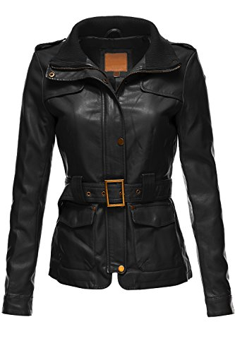 Belted Babydoll Faux Leather Trenchy Coat Jackets,065-Black,X-Large