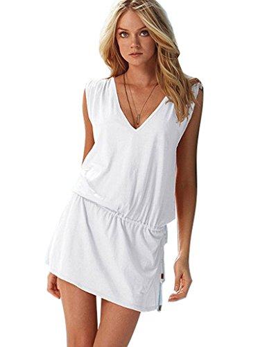 Bestgift Damen Bikini Cover UP Beach Kleid Beach-Cover Up Weiß qy3Wgh4JQh e4a9057592