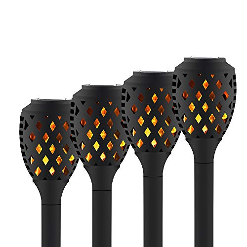 Solar Lights Outdoor Dancing Flickering Flames Waterproof Christmas Lights Decor Solar Pathway Torch Lights Outdoor Landscape Decoration Lighting Solar Spotlights Security Garden 4 Pack (Flickering Christmas Lights Flame)