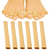 ViveSole Toe Sleeves [6 Pack] - Silicone Gel Tube Finger Protector Compression Cushion Brace - Bandage Wrap Pad Cap for Corn, Calluses, Blister, Jammed Hammer, BJJ, Running, Pain Relief (Small)