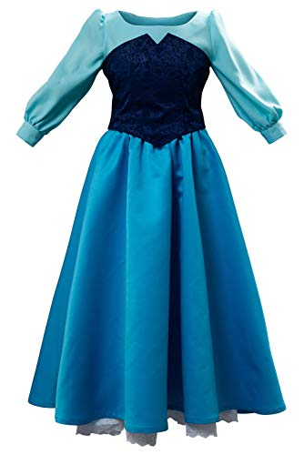 Ariel On Land Halloween Costume (Women Ariel Cosplay Dresses Costume Princess Party Outfit Ball Gown Uniform Blue (S,)