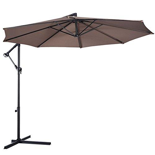 10' Ft Hanging Umbrella Patio Sun Shade Offset Outdoor Market W/ Cross Base Tan - Cheap Sunnies Australia