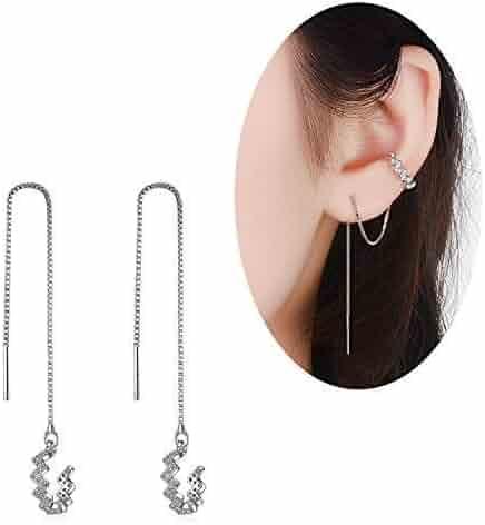 b19cbce4a Elensan 925 Sterling Silver New Arrival Wave Cuff Earrings Wrap Tassel  Earrings for Women Threader Earrings