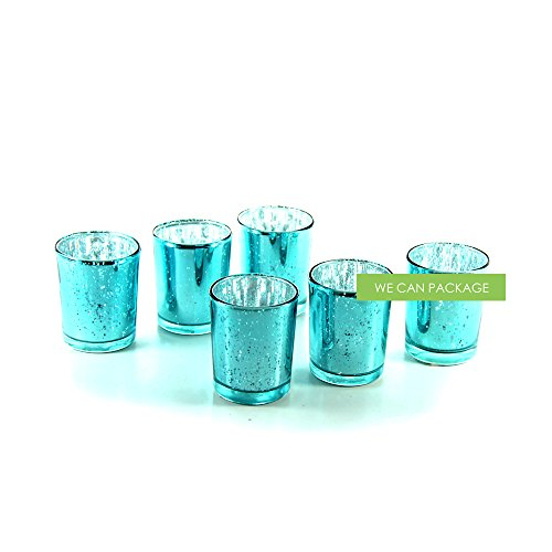 We Can Package Votive Cups Vintage Mercury Antique Glass for Wedding Candle Holders (turquoise)