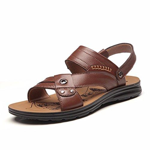 Sommer Echtleder Sandalen Männer Strand Schuh Männer Sandalen Männer Schuh Atmungsaktiv Freizeit Schuh Männer Trend ,braun A,US=7,UK=6.5,EU=40,CN=40