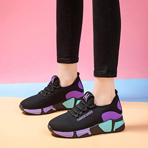 Colores mujeres Corriendo Caliente Mujer Para Ronda De Púrpura Mixta Zapatillas Zapatos Deporte Toe Moda Plano Tobillo Hq8Uv