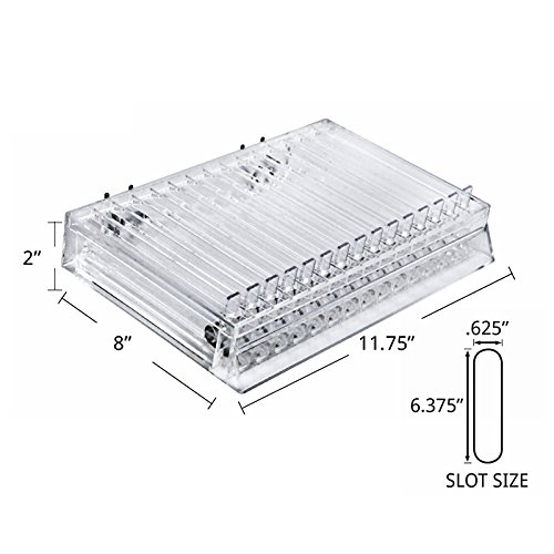 Azar Displays 225515 11.75 W x 8 D x 2 H 15-Compartment Pusher Tray with 0.625 W x 6.375 D slots 2 Pack