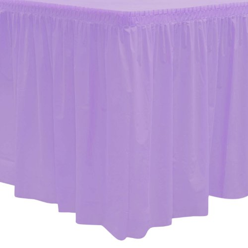 Party Essentials Heavy Duty Plastic Table Skirt, 29-Inch by 14-Feet, Lavender