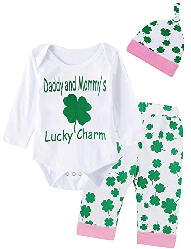 Giwawa ST Patricks Day Outfit Set 4Pcs Baby Girls Clover Romper (Green, 3-6 Months) ()