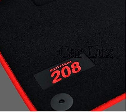 car lux ar02817 tapis de voiture en velours avec bordure rouge pour peugeot 208
