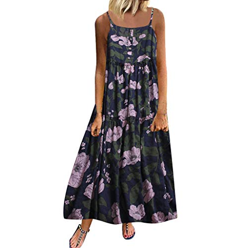 Goddessvan Women Plus Size Boho Retro Linen Print Casual Loose Sleeveless Long Maxi Dress Navy