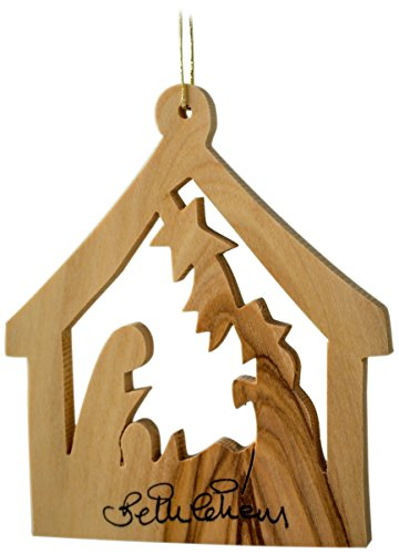 Earthwood Olive Wood Ornament Stable with Nativity, - Small Stable Nativity