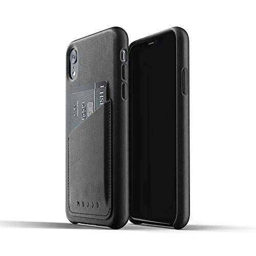 Mujjo Full Leather Wallet Case for iPhone XR | Real Leather with Natural Aging Effect, 2-3 Card Pocket, 1MM Protective Screen Bezel, Japanese Suede Lining (Black)