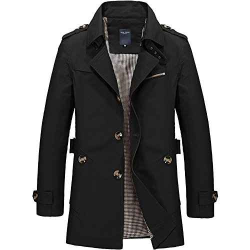 WEEN CHARM Mens Short Single Breasted Trench Coat Pea Coat Overcoat Windbreaker Jacket Black