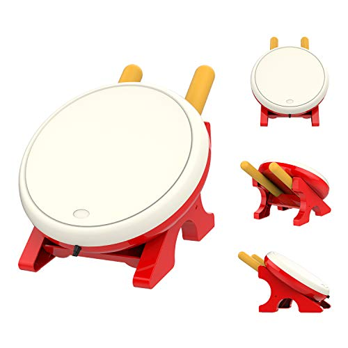 (MoKo Drum Controller for Nintendo Switch, Drum Sticks Controller Set for Nintendo Switch Motion Sensing Game Taiko Drum Master Accessories for N- Switch Version - Red + White)