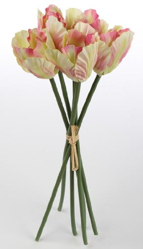Silk Imitation Cream & Pink Ruffled Tulip Bouquets, 3 Bouquets with 6 Blooms Each (For a Total of 18 Blooms)