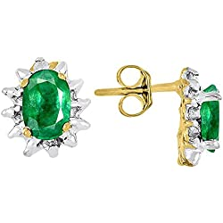 May Birthstone Earrings Emerald in 14K Yellow Gold or 14K White Gold