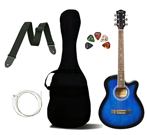 Bronz BL03C-BB Cutaway Acoustic Guitar, Blue Burst, with Gig Bag, Strap, Strings and Picks