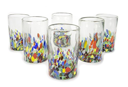 Pressed Hand Glass - MEXART Artisan Crafted Multicolor Hand Blown Recycled Glass Water 14 oz Glasses 'Confetti' (set of 6)